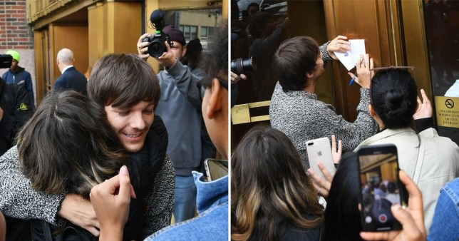 Louis Tomlinson signs autographs in New York