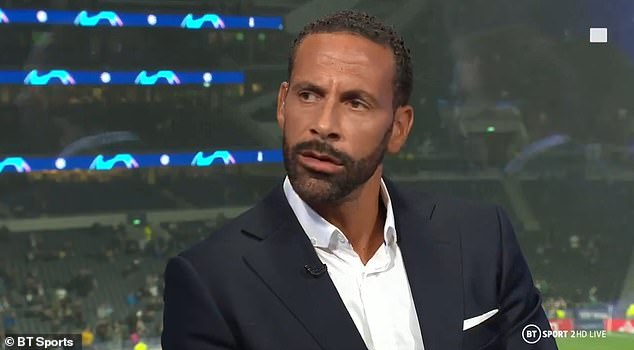 Back at work: The honeymoon was put on hold as Rio Ferdinand returned work on Tuesday, just four days after marrying Kate Wright in Turkey