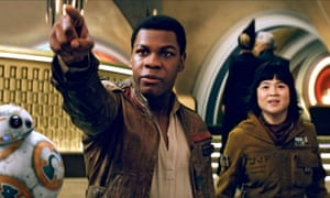 John Boyega and Kelly Marie Tran in The Last Jedi (2017), which saw subjected to an online backlash.