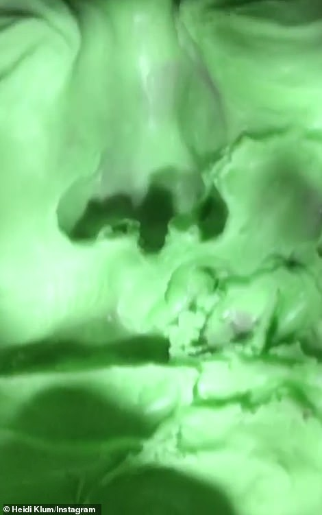 What is it?The video she shared showed a bizarre almost radioactive looking green face with closed eyes that was modeled after Klum's own beautiful visage