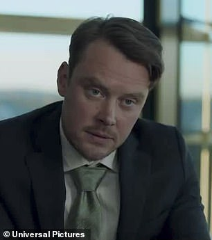 Adrian's lawyer (played by Australian actor Michael Dorman, pictured) reads to Cecilia from Adrian's will, with her ex allegedly having committed suicide after she left him