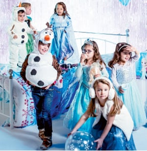 Children at a Frozen party, dressed as the film's characters DO NOT USE. PERMISSIONS ONLY FOR ONE TIME USE FOR WEEKEND FEATURE 9 NOV 2019