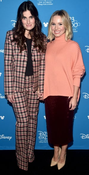 Idina Menzel (on left) and Kristen Bell, the voices of Elsa and Anna in the film Frozen