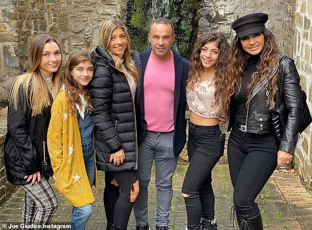 Family reunited: Teresa Giudice and husband Joe, both 47, are currently in Italy with daughters Gabriella, 15, Audriana, 10, Milania, 14, and Gia, 18. They are seen on Friday