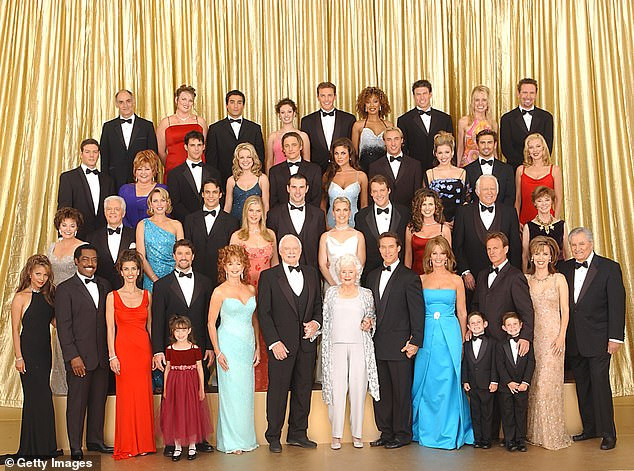 All together now: The cast from the NBC soap opera Days of Our Lives poses for a group portrait in Los Angeles in 2001