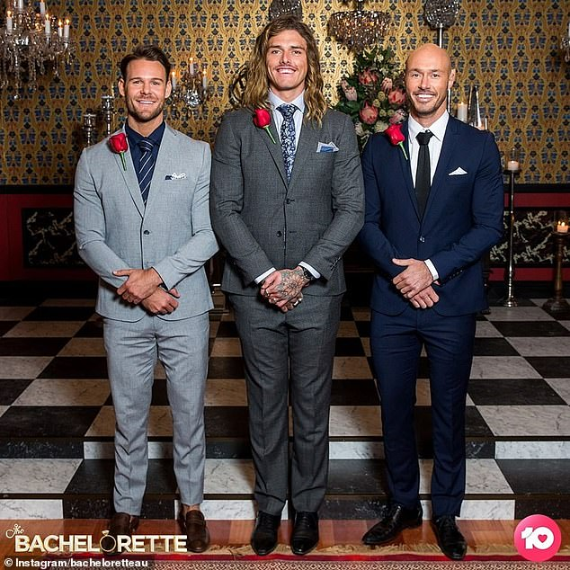 Final three:Angie is currently in the finale week of The Bachelorette with her three remaining suitors - Timm Hanly, Ryan Anderson and Carlin Sterritt.