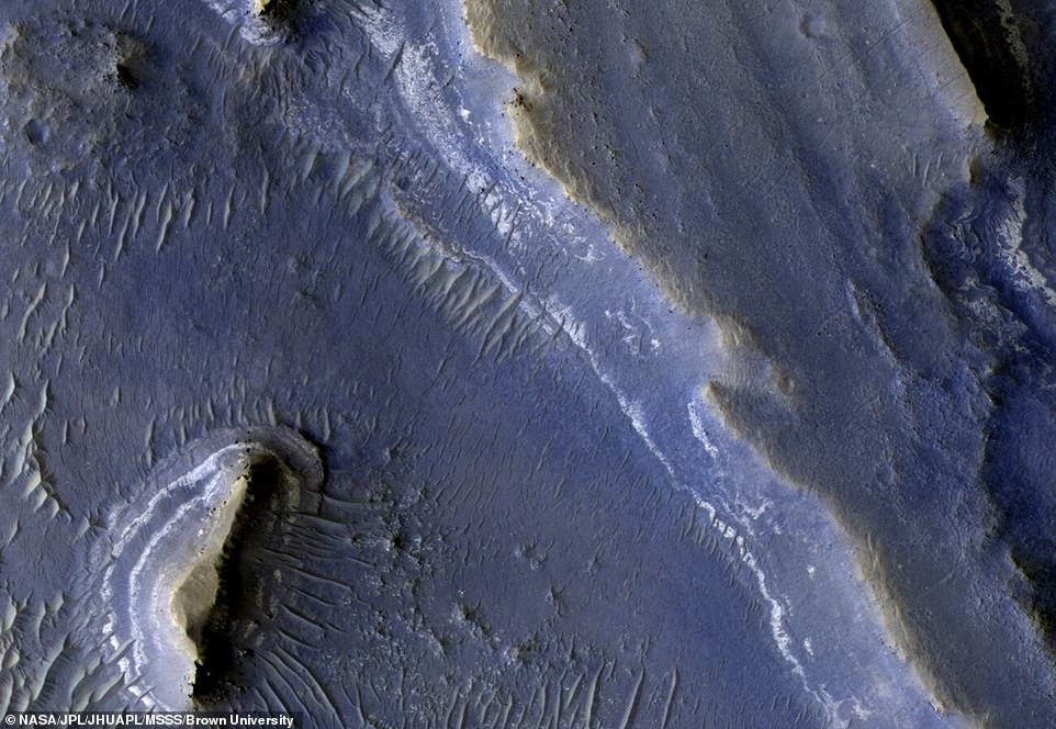Deltas on Earth are known to be good at preserving signs of life, and adding hydrated silica to the mix increases that preservation potential, the researchers explained. While investigating the images, the team spotted one of the silica deposits on the edge of the delta (pictured) at low elevation