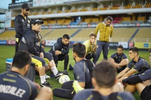 Diego Maradona briefing the team during a training session in May 2019.