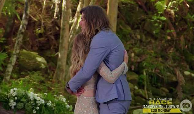 REJECTION:Timm (right) was left heartbroken when Bachelorette Angie (left) told him she'd fallen in love with somebody else, despite being 'soulmates', during the season finale (above)