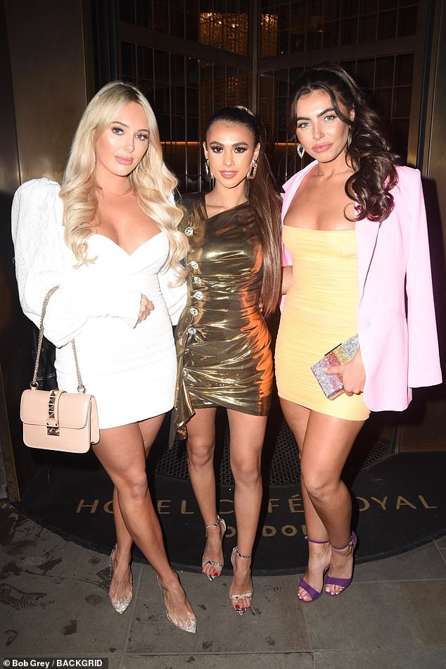 Here comes the girls: TOWIE's Amber Turner rubbed shoulders with Love Island co-stars Joanna Chimonides and Francesca Allen