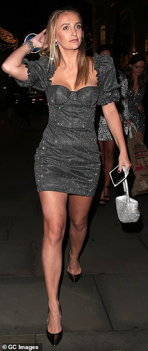 Chic: Former Made In Chelsea star Tiffany Watson wore a glittering evening dress with 80s inspired pinched shoulders