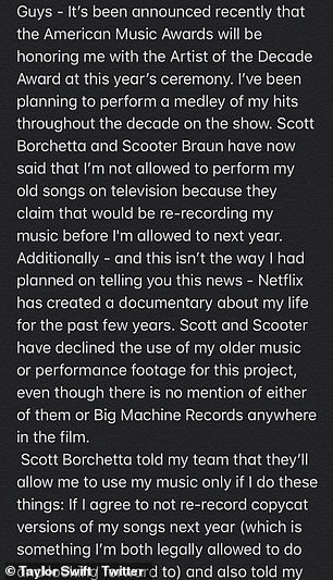 The artist said re-recording next year is something she is 'legally allowed to do'
