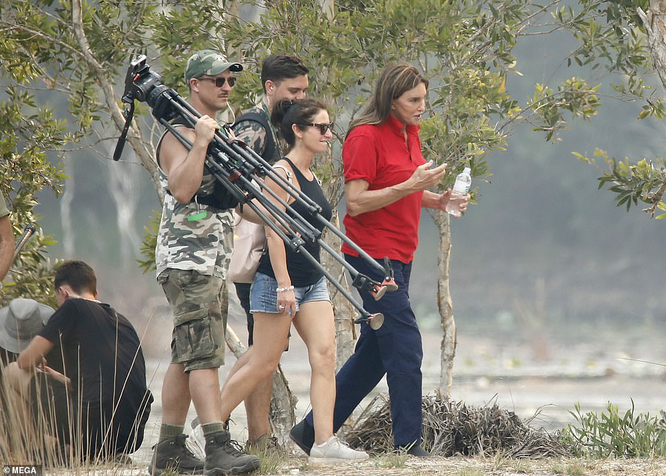Behind-the-scenes: Caitlyn trekked through the Bush with members of the crew including a cameraman