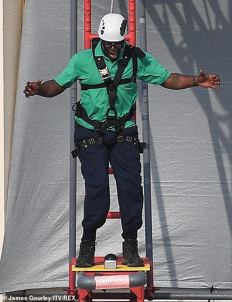 Dramatic: On Friday a number of the show's stars were pictured the show's legendary Walk The Plank challenge, in what appears to be a head-to-head race to win the best camp