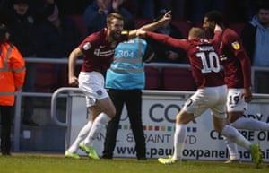 Andy Williams got Northampton Town's final goal as they trounced Crewe 4-1.