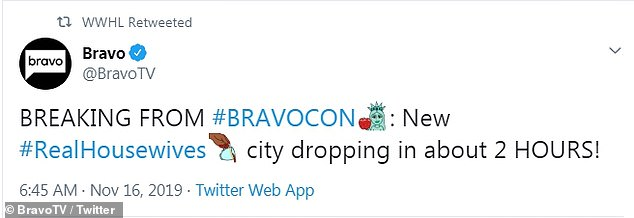 Where will it be? Bravo teased the announcement on social media earlier in the day