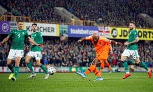 An offside Ryan Babel shoots at goal.