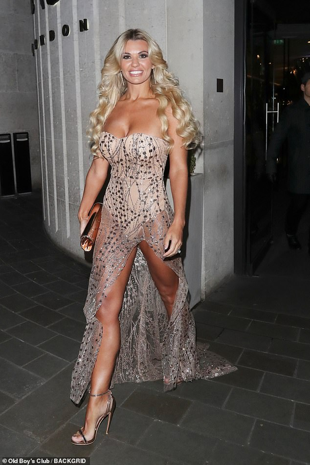 Glam:Ensuring her enviable figure was as visible as possible, Christine rocked a daring number which featured a nude body suit overlaid with a shimmering silver mesh material