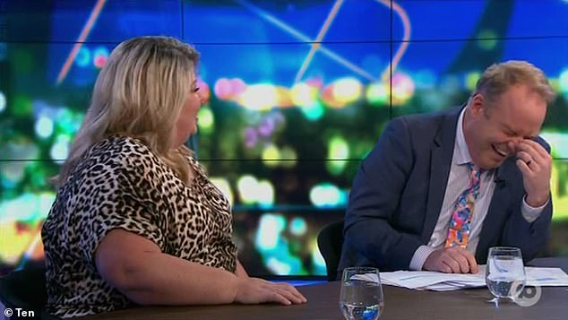 Bringing the laughs: Her candid admission prompted the show's panel to burst out laughing, with Peter Helliar (right) struggling to compose himself