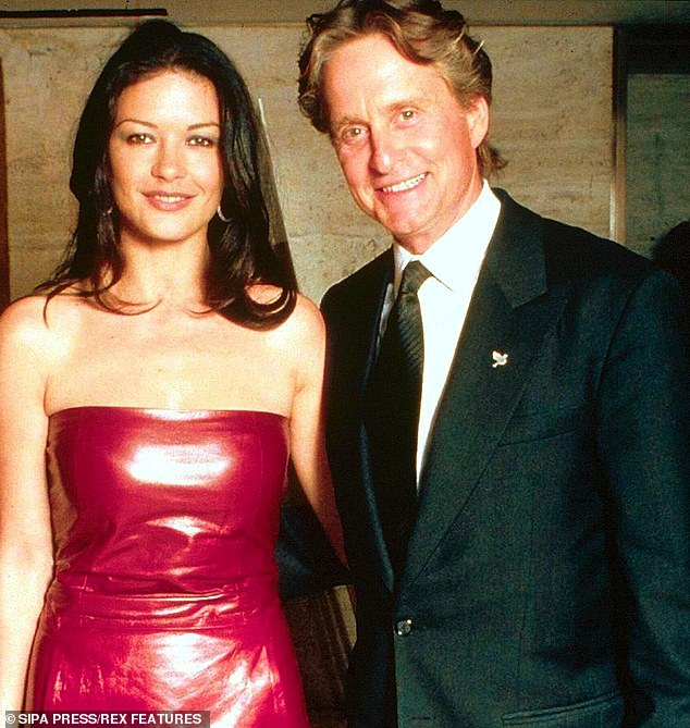 Michael Douglas, 75, and Catherine Zeta-Jones, 50, mark their 19th wedding anniversary this week. Pictured in 1999