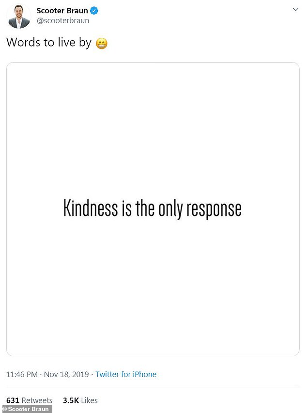 'Words to live by':The 38-year-old businessman took to Twitter to share a simple message about kindness on Tuesday morning