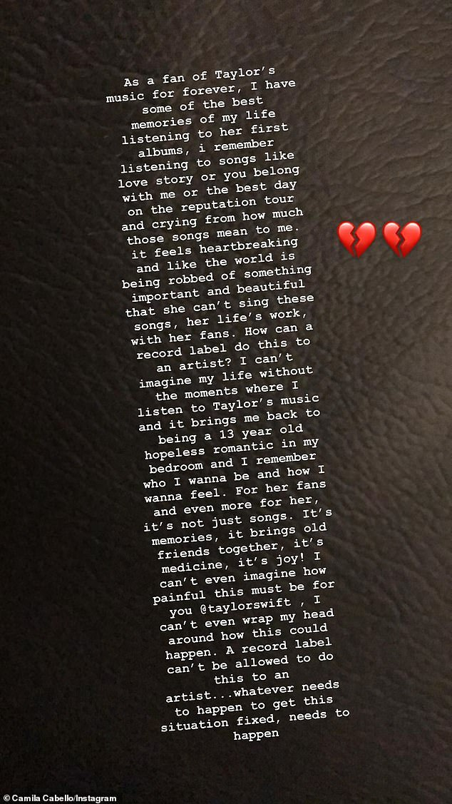Her side:Camila Cabello also shared a long note. She said that 'I can't wrap my head around how this could happen. A record label can't be allowed to do this to an artist... whatever needs to happen to get this situation fixed, needs to happen'