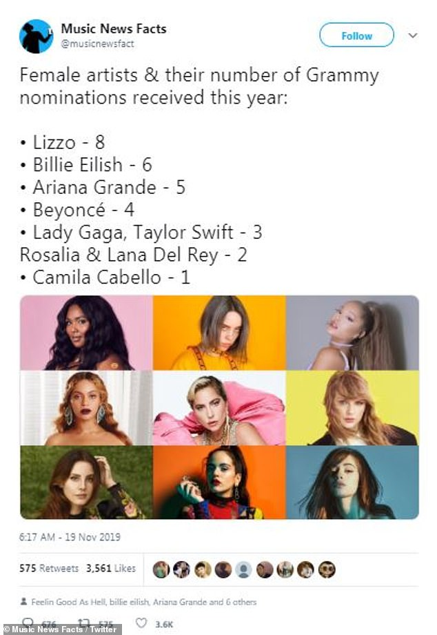 Also ran: @musicnewsfact suggested Camila Cabello would only get one nod at next year's ceremony