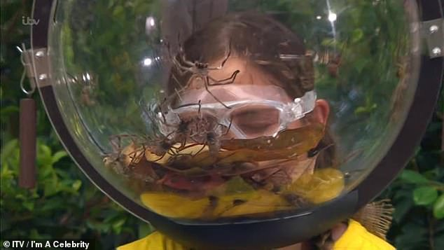 Scared:Later in the show, Jacqueline was forced to overcome her fear of spiders during the Bushtucker Trial Face Your Fears