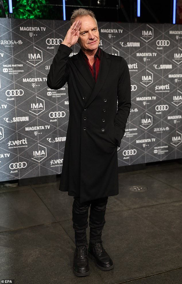 Icon:Also in attendance at the event was rock star Sting, 68, who looked dapper in a long black coat, black skinny jeans and matching boots