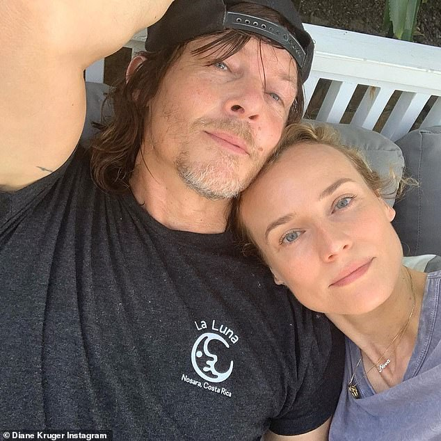 Loved up couple: Diane, 43, also shared this snap of herself with her The Walking Dead beau