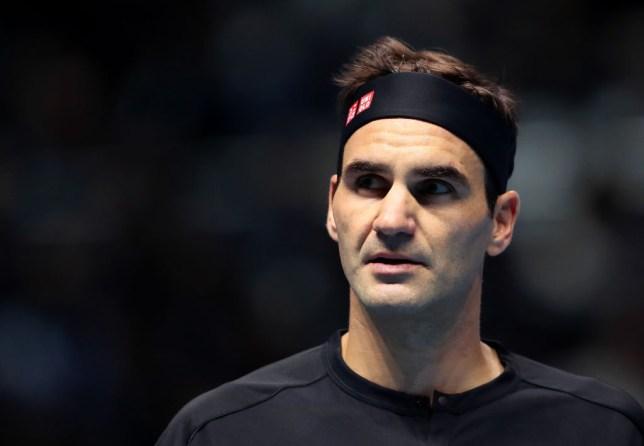 Roger Federer looks on during the ATP Finals