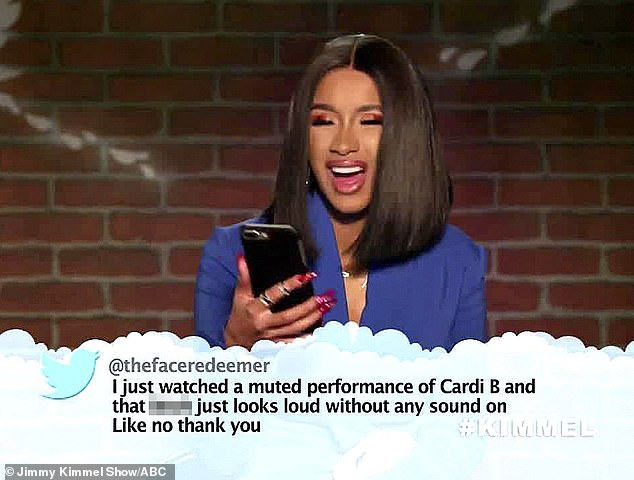 'How I look loud?' Cardi B shot back at a Twitter user who accused her of looking loud even while muted during the Mean Tweets segment on Wednesday's episode of Jimmy Kimmel Live!