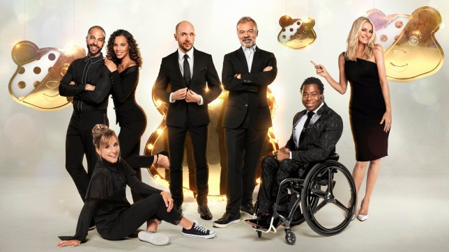 Television programme, 'Children In Need' - TX BBC1: 15/11/2019 - Episode: n/a (No. n/a) - Picture Shows: Marvin Humes, Rochelle Humes, Mel Giedroyc, Tom Allen, Graham Norton, Ade Adepitan, Tess Daly - (C) BBC/Aemen Sukkar at Jiksaw - Photographer: Ray Burmiston/Aemen Sukkar at Jiksaw/Leigh Keily