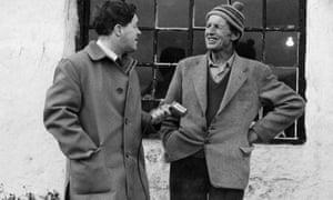 Stanley Ellis, one of the original survey's fieldworkers (left), interviews Tom Mason in North Yorkshire.