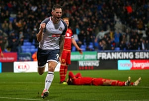 Daryl Murphy celebrates after scoring Bolton's late winner against MK Dons.