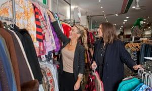 Jess Cartner-Morley, left, and Mel Wilkinson go through the racks at Rokit in Covent Garden.