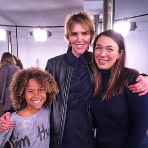 Kelsey Juliana (right), Gabriela Hearst designer (centre) and Kelsey's fellow plaintiff, Levi Draheim (left)