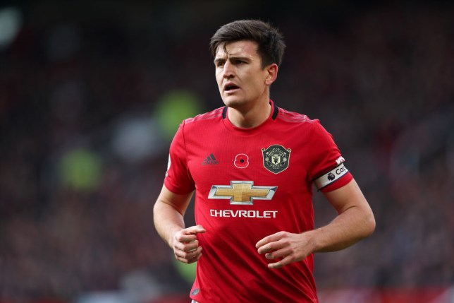 Manchester United star Harry Maguire is pictured with the captain armband on