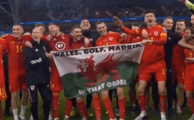 Gareth Bale infuriated Real Madrid fans by posing with this Wales flag after they beat Hungary to reach Euro 2020