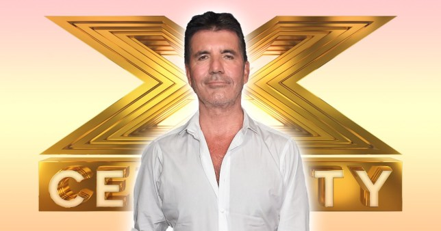 Simon Cowell in front of The X Factor: Celebrity logo