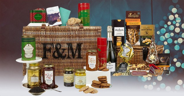 The Christmas hamper from Fortnum & Mason and one from Virginia Hayward on a festive background
