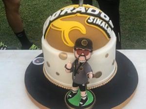 Maradona's birthday cake presented to him during training by his Dorados de Sinaloa team in October 2018 to celebrate his 58th birthday.