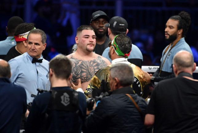 Andy Ruiz speaks to his trainer Manny Robles after suffering defeat to Anthony Joshua in their boxing rematch