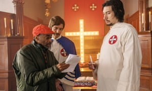 Adam Driver on set with director Spike Lee and Topher Grace for BlacKkKlansman.