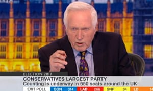 David Dimbleby hosting the BBC's election night coverage n 2017