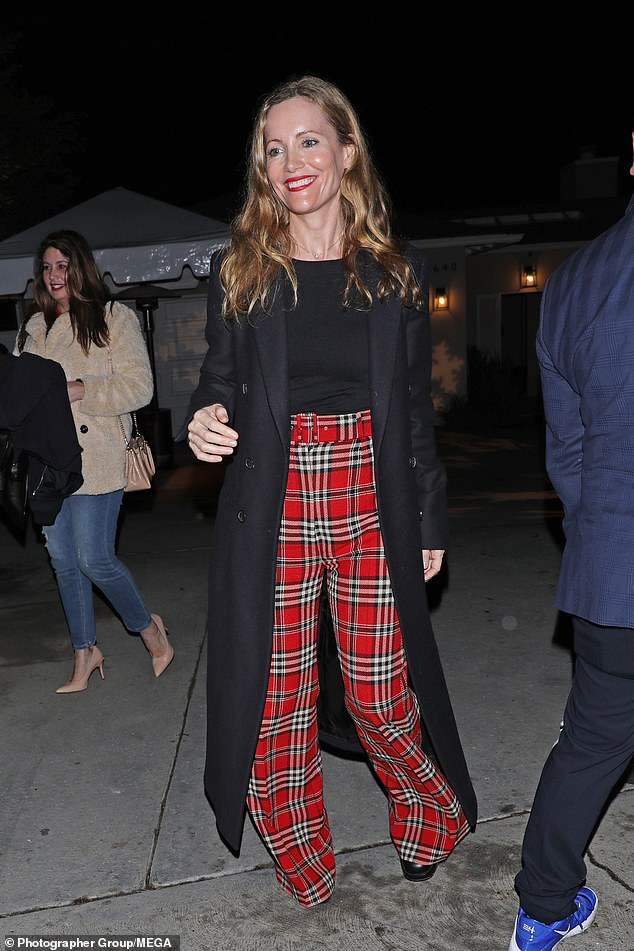 Partytime: Leslie Mann enjoyed time off from parenting duties as she attended a festive house party in Los Angeles on Saturday