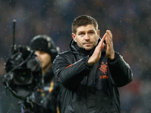 Gerrard applauds the fans after Rangers booked their place in the Europa League last 32.