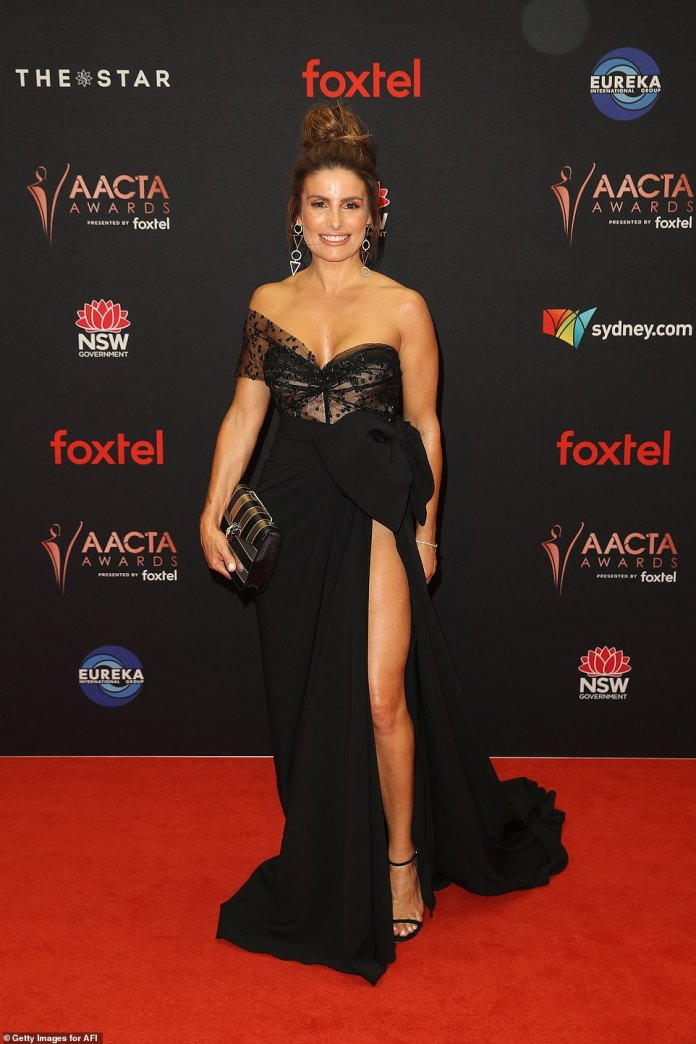 Stepping out in style: Ada Nicodemou led the celebrity arrivals at the AACTA Awards at The Star in Sydney on Wednesday