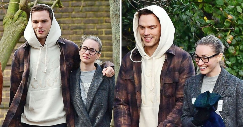 Nicholas Hoult and girlfriend on Sunday stroll