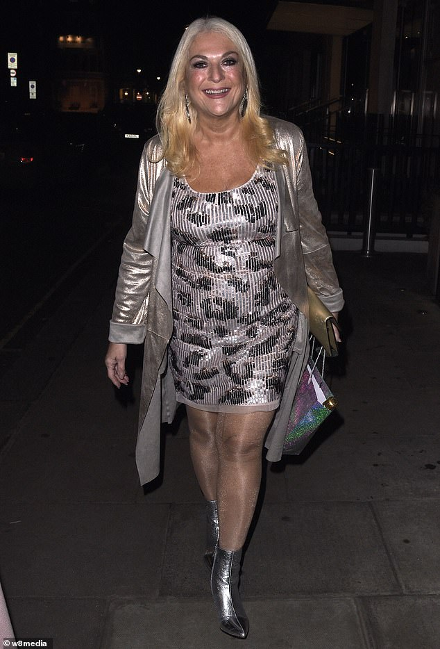 Style: Vanessa Feltz, 57, looked nothing short of sensational as she attended Eamon Holmes' surprise 60th birthday party at the Hari Hotel in Belgravia, London on Tuesday